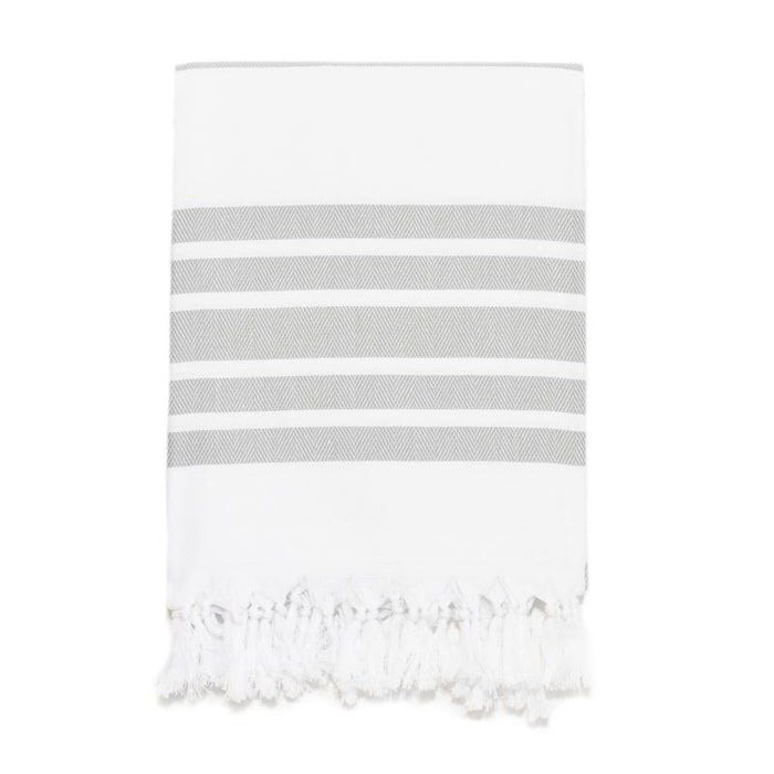 Classic Herringbone Striped Turkish Towel - Dark Grey
