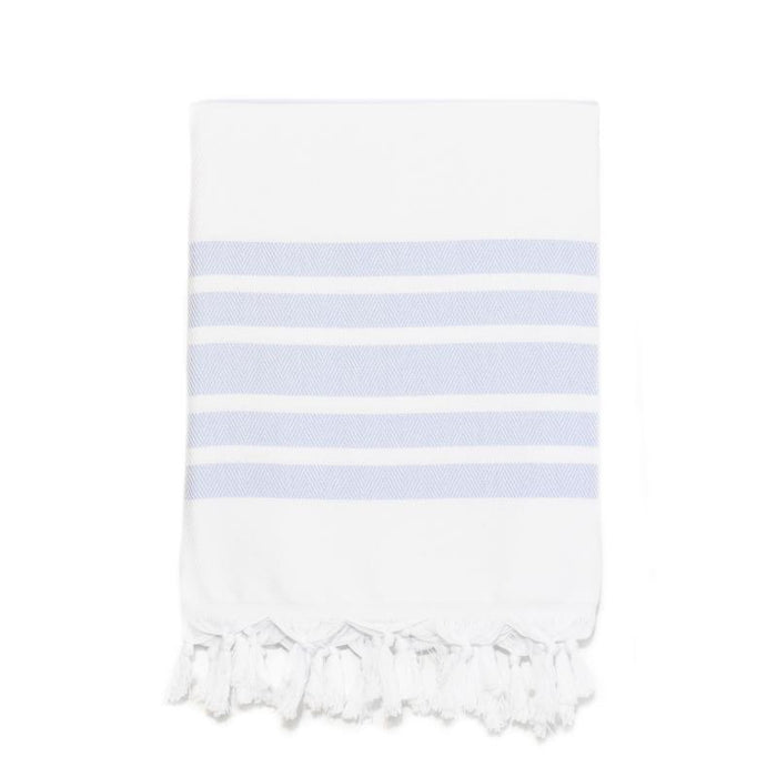 Classic Herringbone Striped Turkish Towel - Light Blue