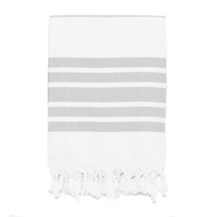 Classic Herringbone Striped Turkish Towel - Light Grey