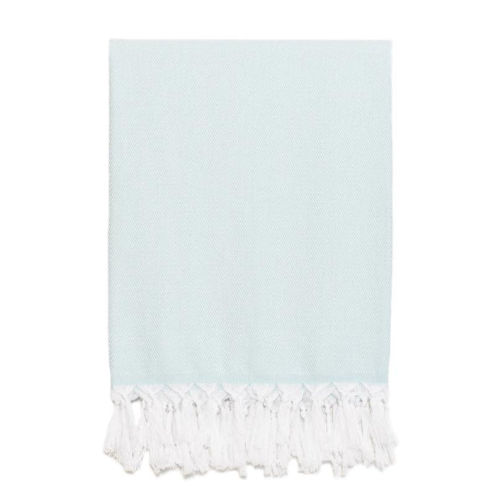 Classic Herringbone Turkish Towel - Aqua