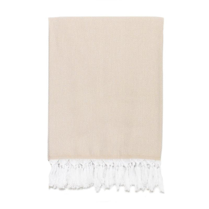 Classic Herringbone Turkish Towel - Cappuccino