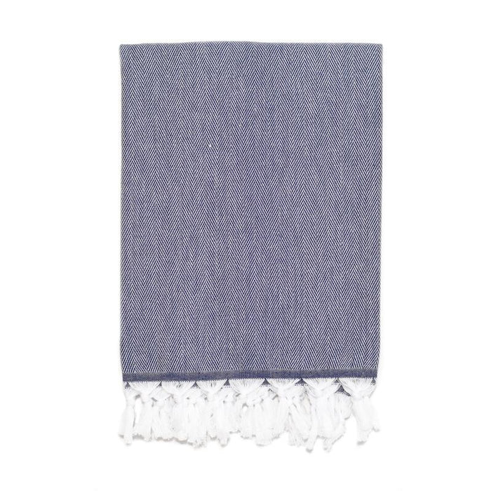 Classic Herringbone Turkish Towel - Navy