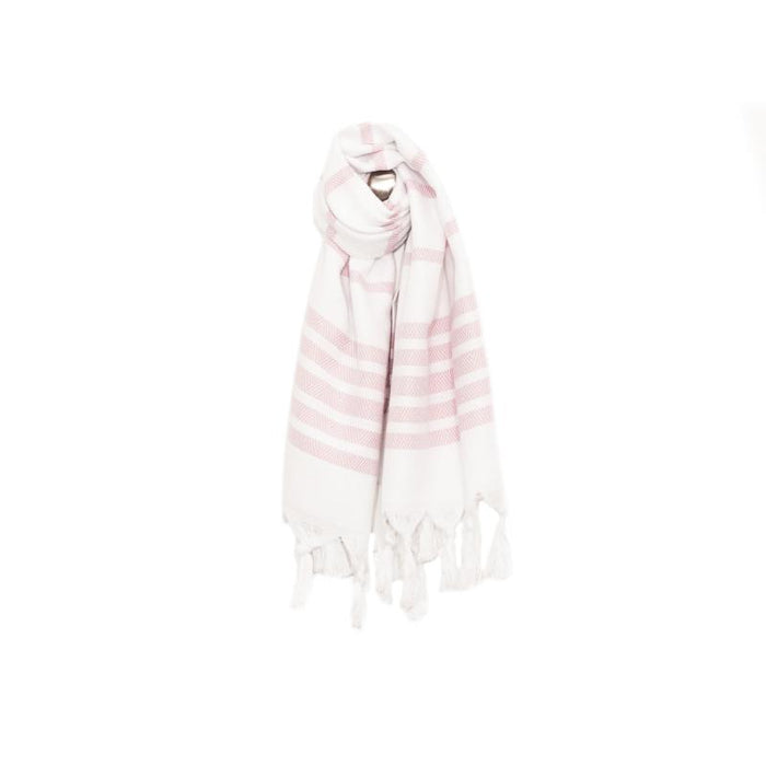 Classic Herringbone Striped Turkish Towel - Dark Pink