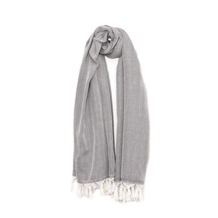 Classic Herringbone Turkish Towel - Light Grey