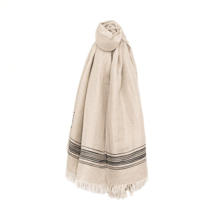 Classic Linen Turkish Towel - Cream with Chartreuse