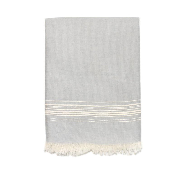 Classic Linen Turkish Towel - Grey with Cream