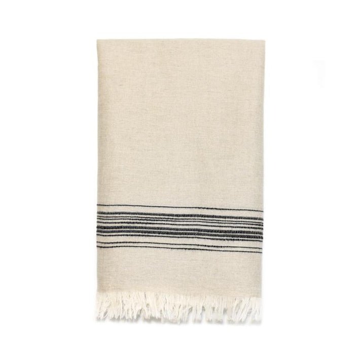 Classic Linen Turkish Towel - Natural with Black