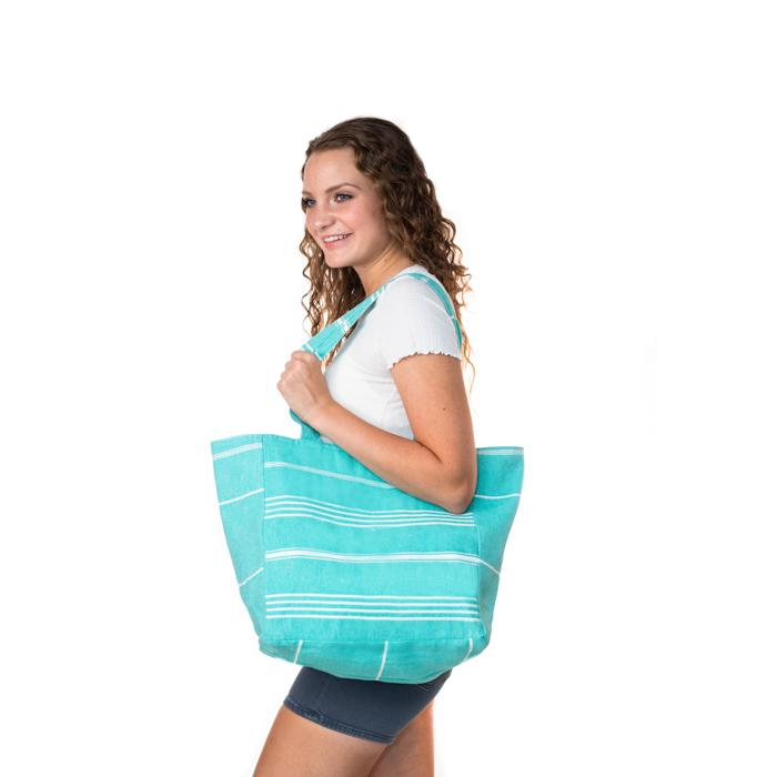 Classic Sriped Turkish Towel Bag - Jade