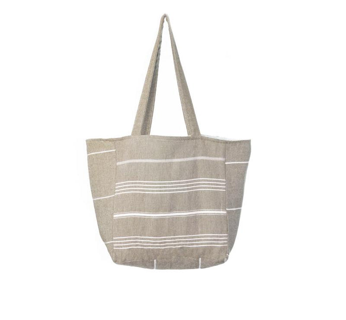 Classic Striped Turkish Towel Bag - Cappuccino
