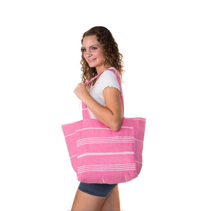Classic Striped Turkish Towel Bag - Dark Pink