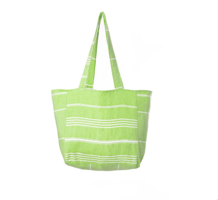 Classic Striped Turkish Towel Bag - Green Apple