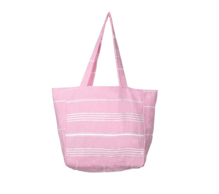 Classic Striped Turkish Towel Bag -  Light Pink