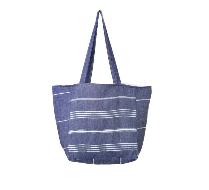Classic Striped Turkish Towel Bag - Navy