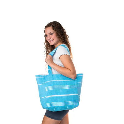 Classic Striped Turkish Towel Bag - Turquoise