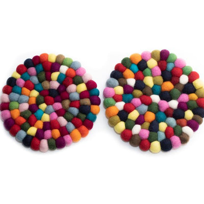 Colorful Felt Ball Trivet from Nepal