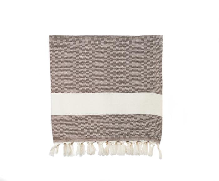 Diamond Striped Woven Turkish Throw - Chocolate