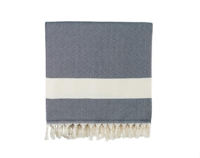 Diamond Striped Woven Turkish Throw - Midnight Blue