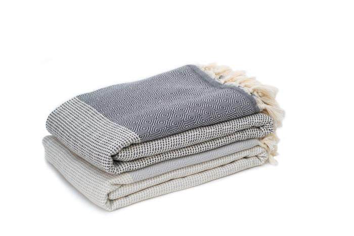 Elmas Patterned Woven Turkish Throw - Dark Grey