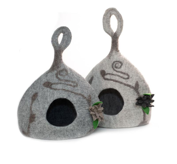 Fancy Gourd Cat Cave from Nepal - Light Heather Grey