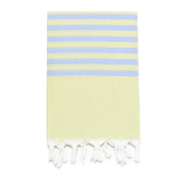 Fresh Preppy, Lightweight Striped Turkish Towel -  Lime/Denim