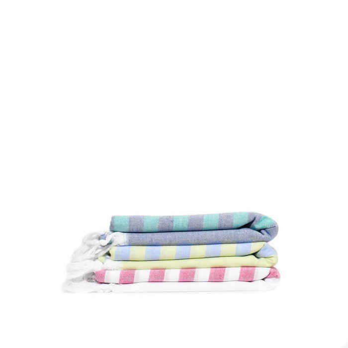 Fresh Preppy, Lightweight Striped Turkish Towel -  Fuschia/White