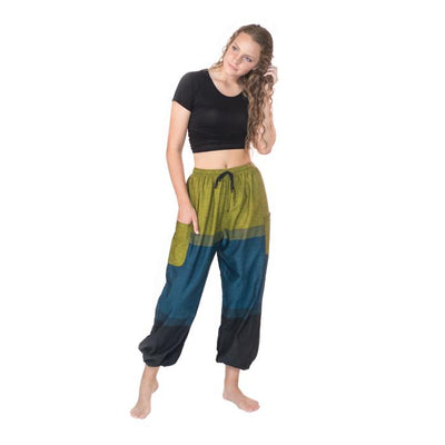 Fun Cotton Pants from Nepal - Blues/Greens