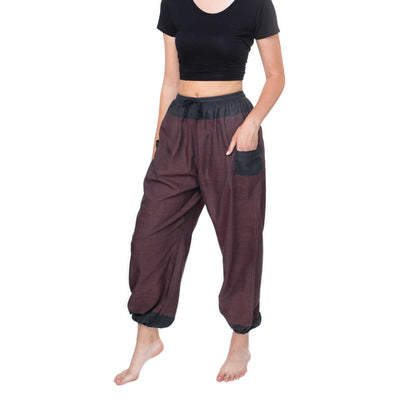 Fun Cotton Pants from Nepal - Burgundy/Black