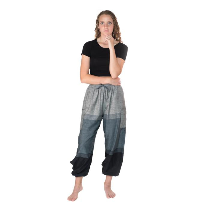 Fun Cotton Pants from Nepal - Dusty Blues