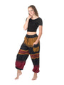 Fun Cotton Pants from Nepal - Maroon/Gold/Black