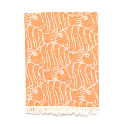 Fun Fish Double Layer Turkish Towel - Orange