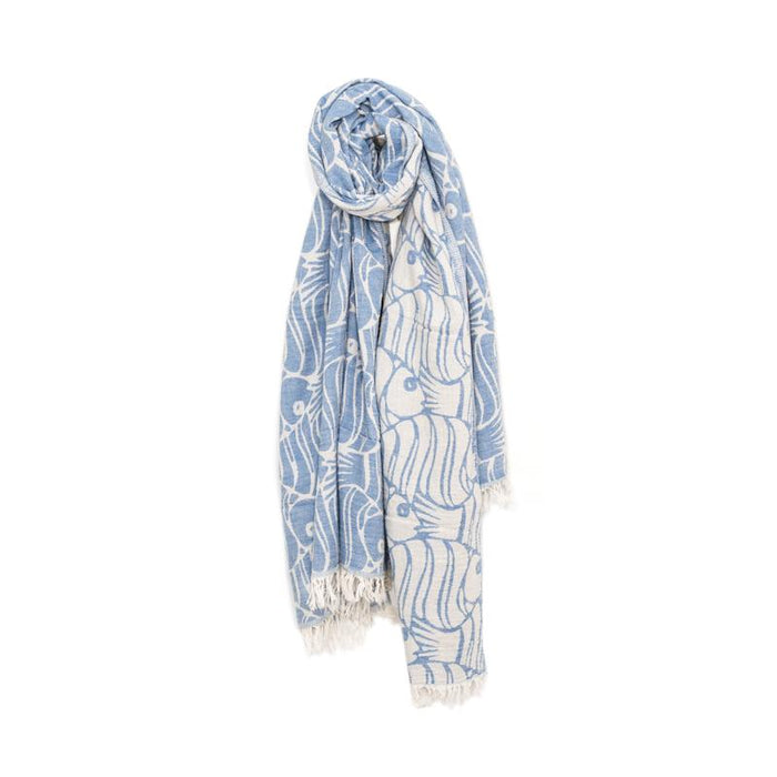 Fun Fish Double Layer Turkish Towel - Blue