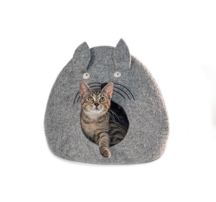 Grey Felt Kitty Face Cat Cave from Nepal
