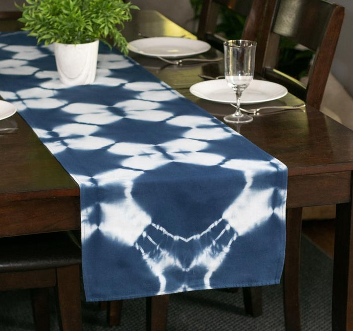 Hand Dyed Shibori Table Runner - Blue Diamond