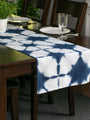 Hand Dyed Shibori Table Runner - Blue Star