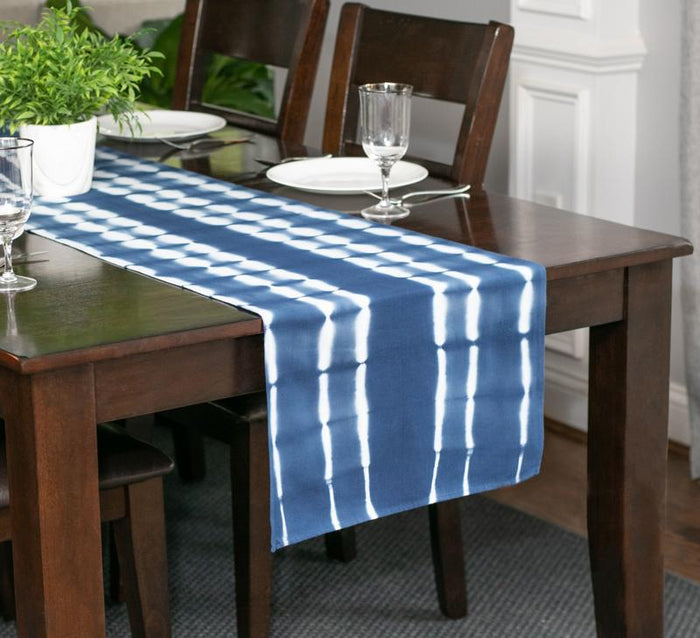 Hand Dyed Shibori Table Runner - Bubble Road