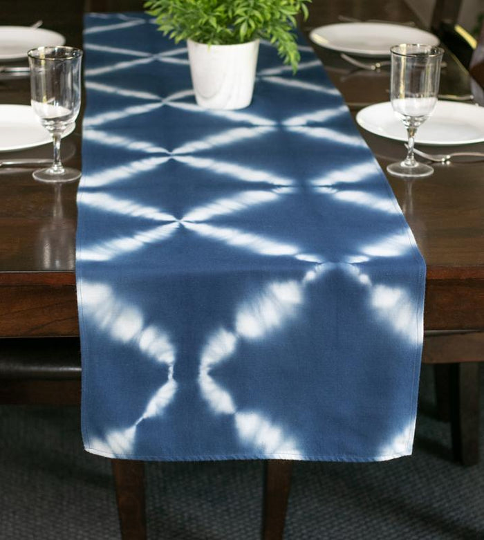Hand Dyed Shibori Table Runner - Criss Cross