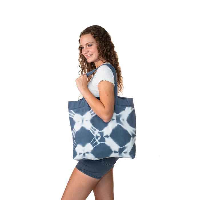 Hand Dyed Shibori Tote Bag - Diamonds