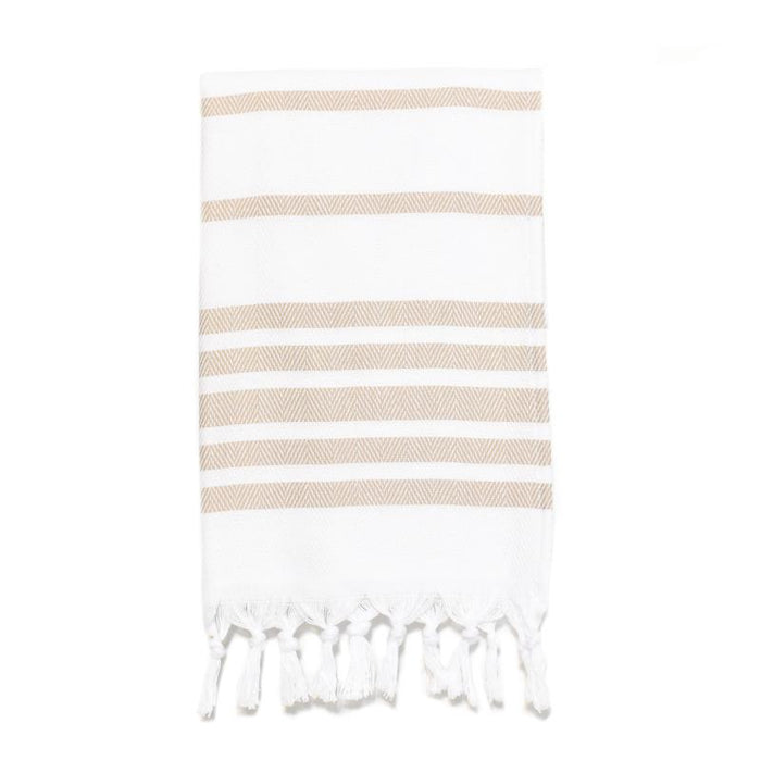 Herringbone Striped Turkish Hand Towel - Cappuccino