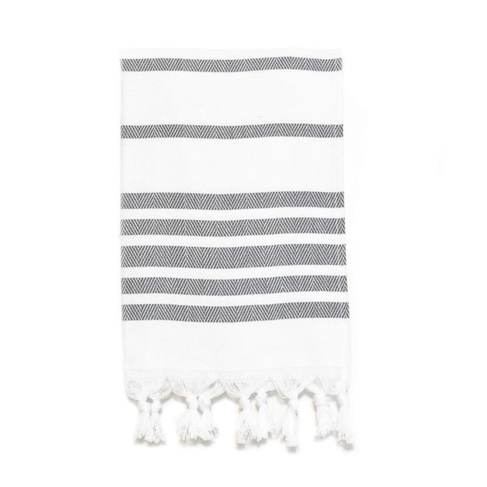 Herringbone Striped Turkish Hand Towel - Dark Grey