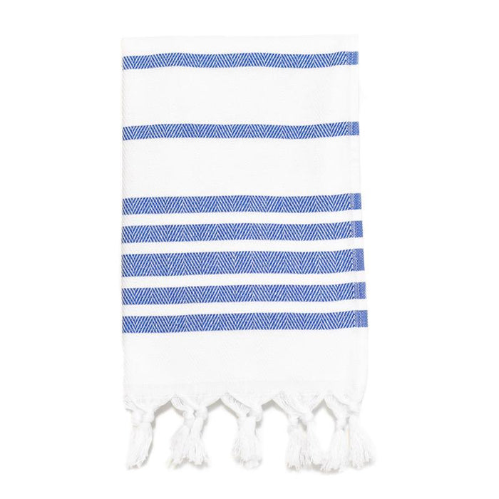 Herringbone Striped Turkish Hand Towel - Royal