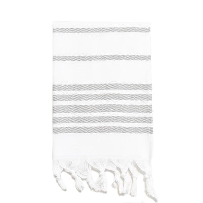 Herringbone Striped Turkish Hand Towel - Light Grey