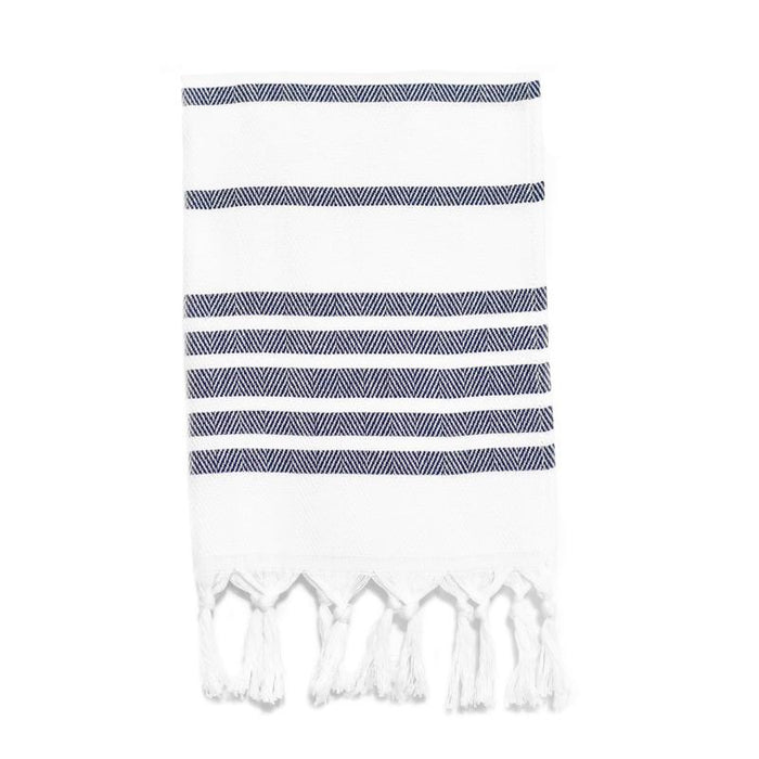 Herringbone Striped Turkish Hand Towel - Navy