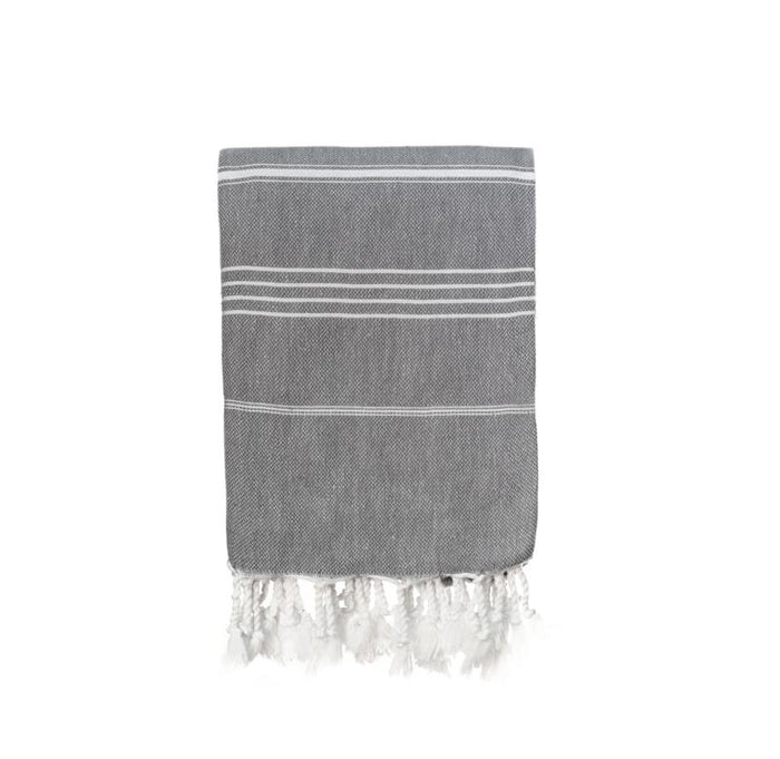 Jumbo Traditional Turkish Towel - Medium Grey