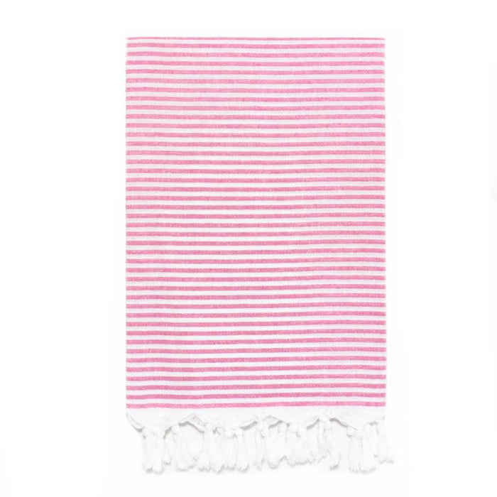Lightweight Candy Striped Turkish Towel - Fuschia