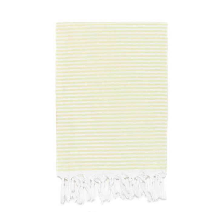 Lightweight Candy Striped Turkish Towel - Lime