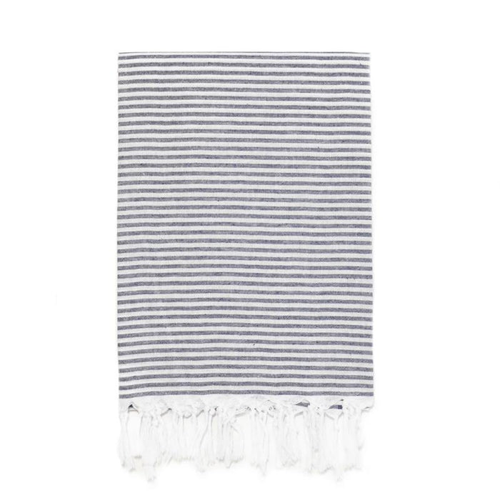 Lightweight Candy Striped Turkish Towel - Navy