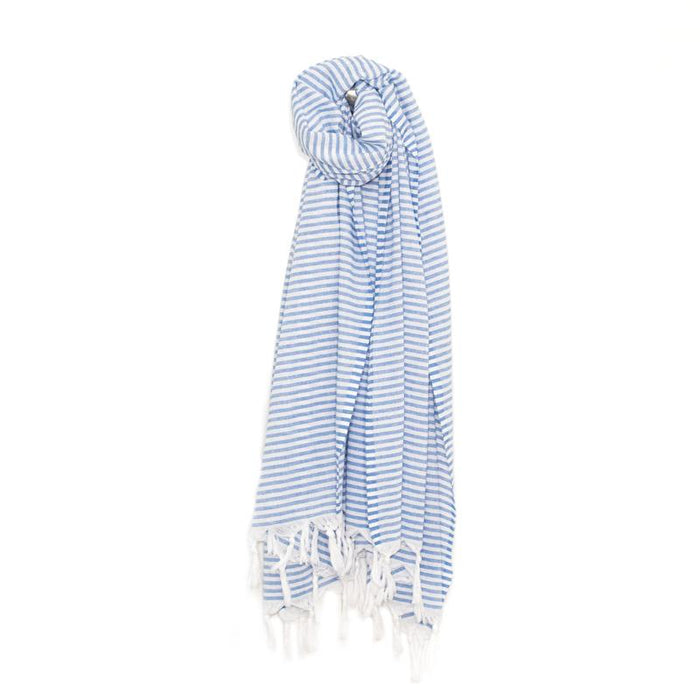 Lightweight Candy Striped Turkish Towel - Blue
