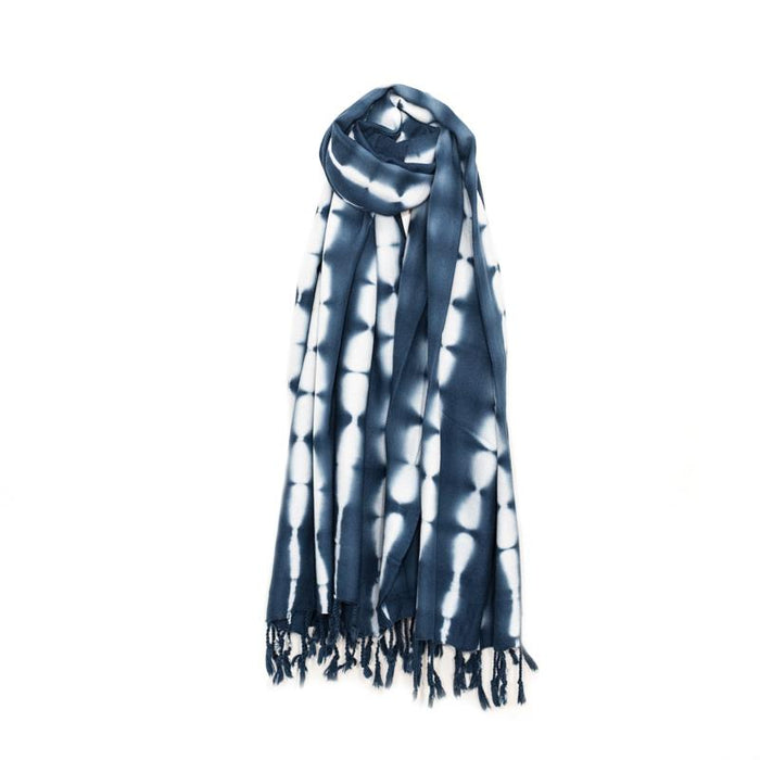 Lightweight Shibori Dyed Turkish Towel - Shades of Indigo