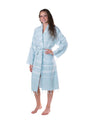 Lightweight Traditional Turkish Towel Striped Robe - Aqua (S/M)