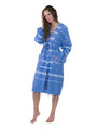 Lightweight Traditional Turkish Towel Striped Robe - Azure (S/M)